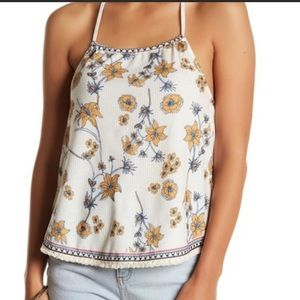 Flying Tomato Floral Ribbed Halter Tank, size S